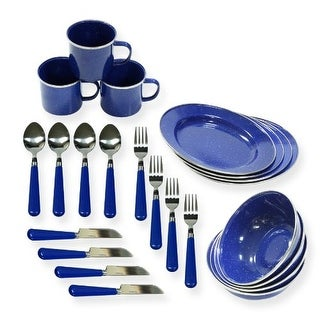 Stansport STN11220B Enamel Camping 24-piece Tableware Set