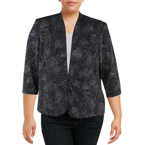 Alex Evenings Womens Plus Jacket Knit Glitter