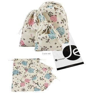 JAVOedge 3 Pack of Beige Flower Pattern Lightweight Fabric Drawstring Bag for Packing, Storage, Undergarments (S,M,L)