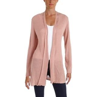 Eileen Fisher Womens Cardigan Top Silk Ribbed Knit - l