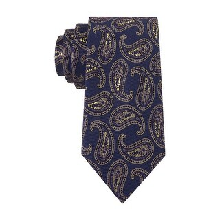 Club Room Estate Neckwear Perfect Paisley Classic Silk Tie Necktie Navy and Gold