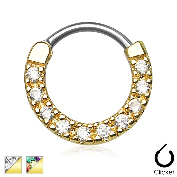 Ten Paved Gem Single Line Gold IP 316L Surgical Steel Septum Clicker (Sold Indiv.)