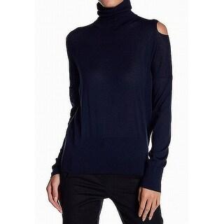 Vince Blue Women Size XS Cold-Shoulder Turtleneck Mock Sweater