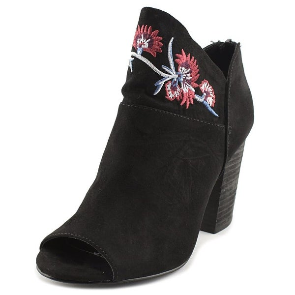 Carlos by Carlos Santana Jazlyn Women Peep-Toe Canvas Black Ankle Boot