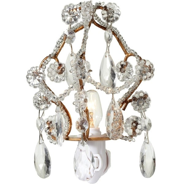 Set of 2 Gold and Silver Decorative Chandelier Night Light with 5""