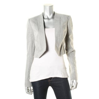 Halston Heritage Womens Cropped Jacquard Knit Open-Front Blazer - L