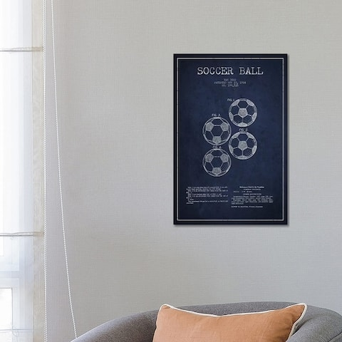 """iCanvas """"Soccer Ball Navy Blue Patent Blueprint"""" by Aged Pixel Canvas Print"""