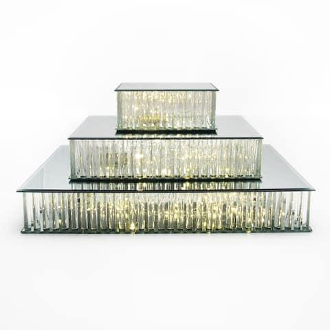 Rectangle Mirror LED Fairy Light Up Glass Columns Cake Stand Dessert Display Tray Riser