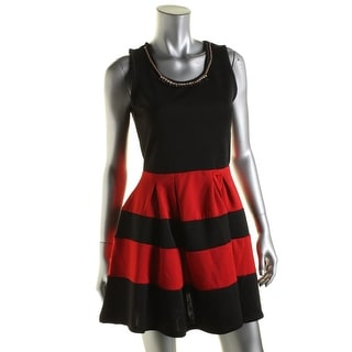 Crystal Doll Womens Juniors Jersey Colorblock Cocktail Dress