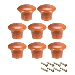 Cabinet Round Pull Knobs 23mm Dia Bedroom Kitchen Red Elm Wood 8pcs - 23mmx17mm(D*H)-8pcs