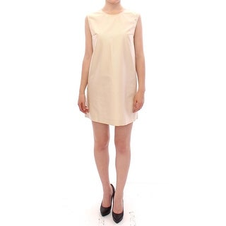 Andrea Incontri Beige Sleeveless Shift Mini Dress