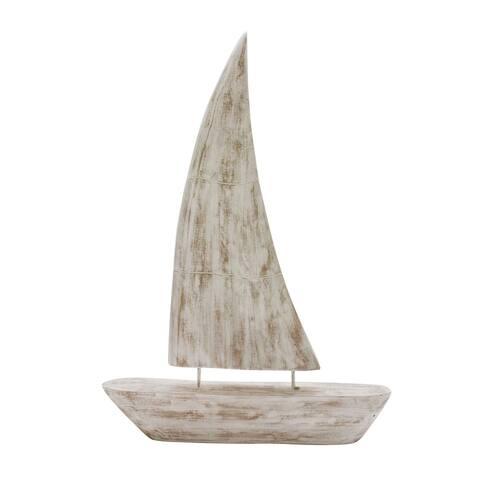 """Mango Wood Sailboat 27"""", Whitewash"""