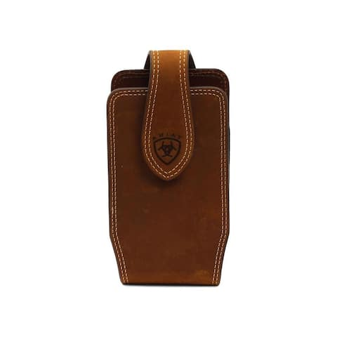 Ariat Western Cell Phone Case Leather Double Stitch Med Brown
