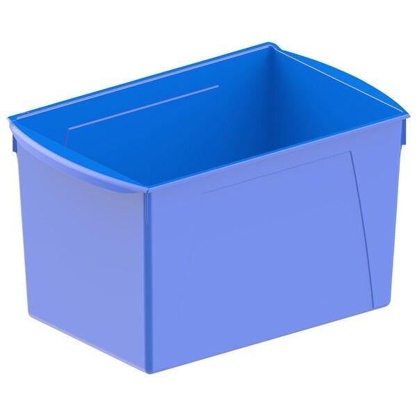 Storex Interlocking Book Bins, Double Wide, 14-1/2 x 9-1/5 x 7 Inches, Blue