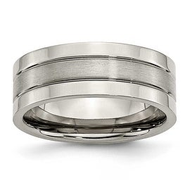 Chisel Grooved Brushed and Polished Titanium Ring (8.0 mm)