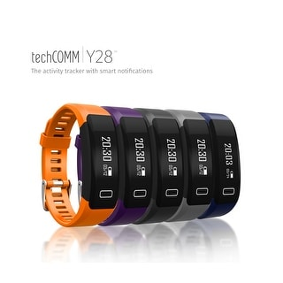 TechComm Y28 Water-Resistant Fitness Activity Tracker with Heart Rate Monitor, Pedometer, Sedentary Reminder and Sleep Monitor