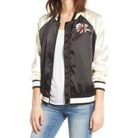 Lovers + Friends Black Women Size Large L Embroidered Bomber Jacket