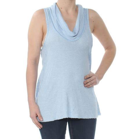 FREE PEOPLE Womens Blue Sleeveless Cowl Neck Top Size: L