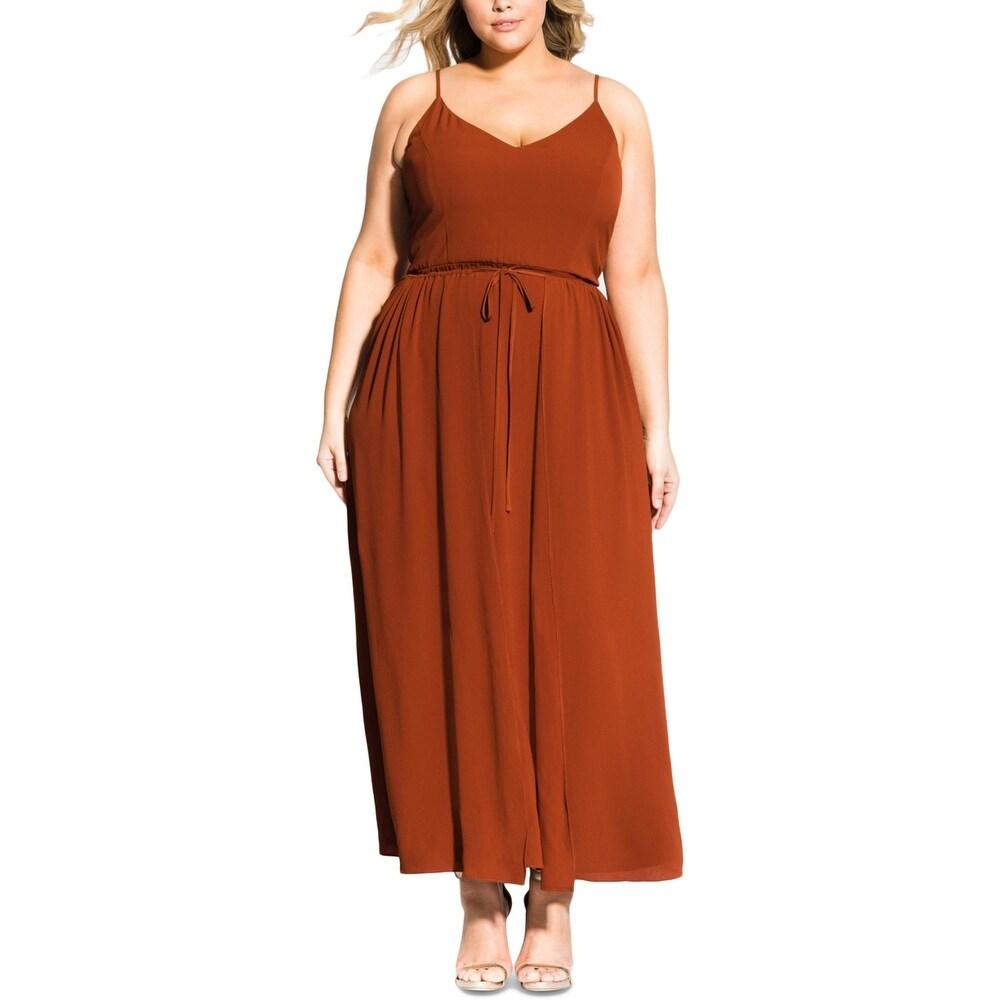 City Chic Womens Plus Divine Overlay Maxi Dress Crepe Faux Wrap - Spice
