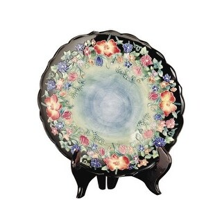 Dale Tiffany PA500156 Porcelain Flower Garden Decorative Plate with Stand - Black