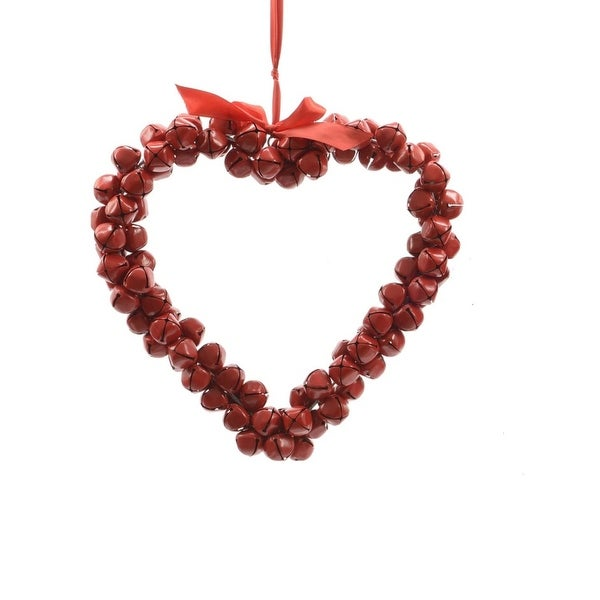 "14"" Alpine Chic Red Heart Shaped Jingle Bell Decorative Christmas Wreath"