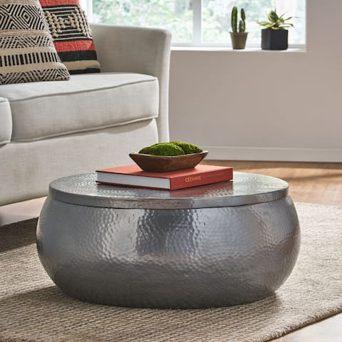 Ferster Aluminum Drum Coffee Table by Christopher Knight Home