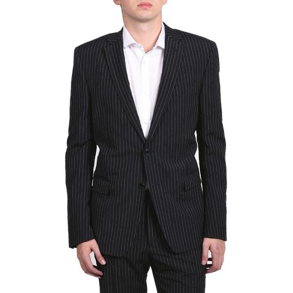 4c5feda31e Shop Versace Men's Pinstripe Two-Piece Viscose Suit Black/White ...