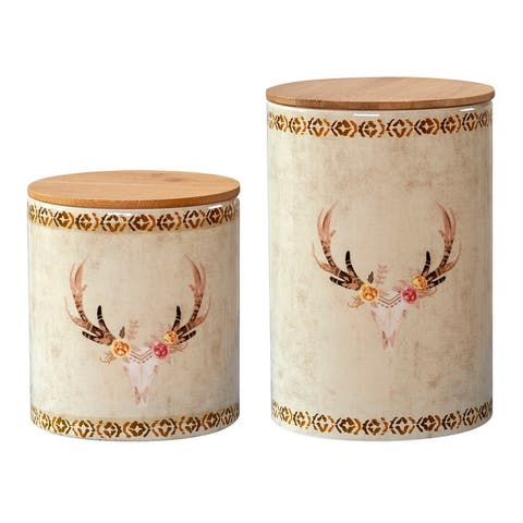 HiEnd Accents 2 PC Skull Design Canister Set - N/A