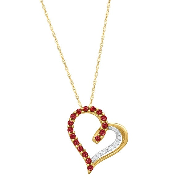 1/3 ct Created Ruby Heart Pendant Necklace with Diamonds in 14K Gold