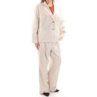 LE SUIT $280 Womens New 1379 Beige Straight leg Blazer Pant Suit 14W Plus B+B