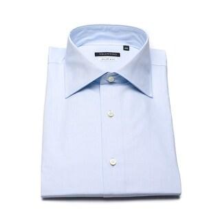 Valentino Men's Cotton Dress Shirt Crosshatch Light Blue