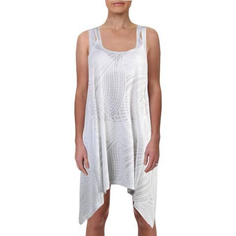 J Valdi Womens Burnout Beach Dress Swim Cover-Up