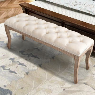 """Wood Bed Bench, Upholstered Ottoman, Tufted Bench for Bedroom Entryway - 43.31""""L x 14.96""""W x 18.90""""H"""