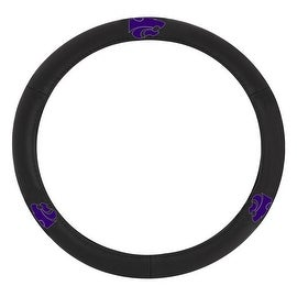 Pilot Automotive Black Leather Kansas State University Wildcats Car Auto Steering Wheel Cover