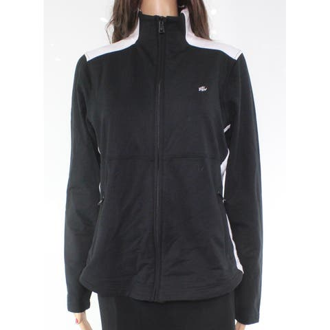 Lauren by Ralph Lauren Jacket Black Size Large L Colorblocked Full-Zip