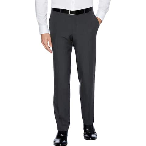 Perry Ellis Portfolio Mens Dress Pants Plaid Performance - Charcoal