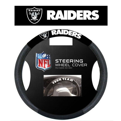 """Fremont Die Inc Oakland Raiders Poly-Suede Steering Wheel Cover Steering Wheel Cover"""