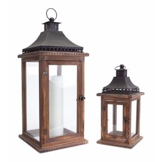 """Set of 2 Cape Cod Wooden and Glass Pillar Candle Holder Lanterns 23.5"""""""