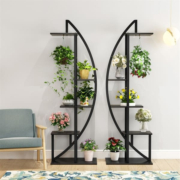 5 Tier Plant Stand 2 Pack Multi Story Flower Rack For Garden Patio Overstock 30393784 White