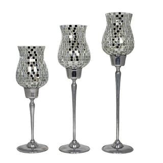 Clear Mosaic Candle Holders, Silver (Set of 3)