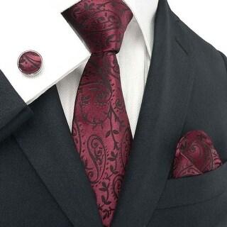 Men's Paisley Burgundy And Black 100% Silk Tie Set TheDapperTie 30C