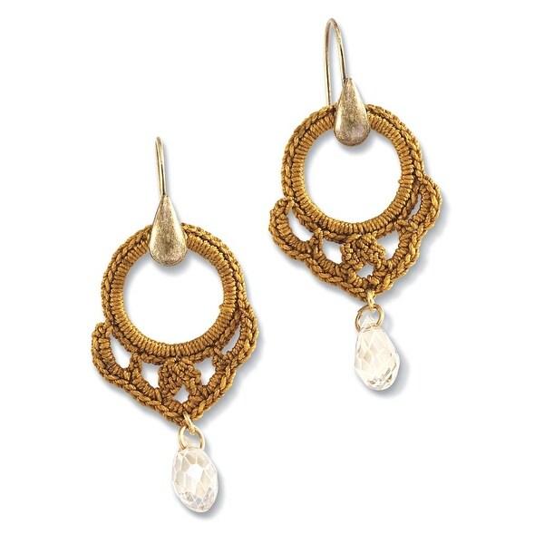 Women's Crochet Hoop Brass Drop Earrings - Gold