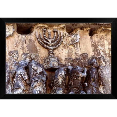 """""""Relief on wall of Forum depicting Roman troops taking menorah from temple"""" Black Framed Print"""