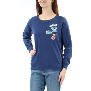 Womens Navy Long Sleeve Crew Neck Casual Sweater Size M