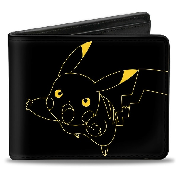 Pikachu Outline Tackle + Pose Black Yellow Bi Fold Wallet - One Size Fits most