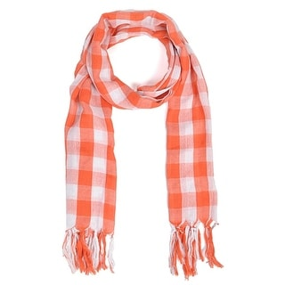 Link to Women's Orange White Viscose Plaid Scarf scarves LS4460 - Regular Similar Items in Scarves & Wraps