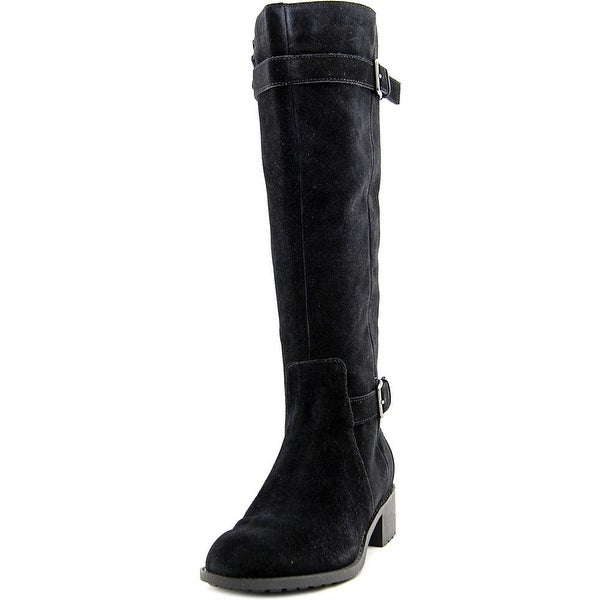 Cole Haan Putnam WP Boot Women  Round Toe Suede Black Knee High Boot