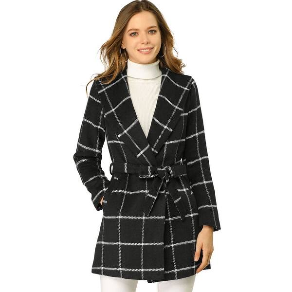 Allegra K Women S Plaid Belted Shawl Collar Wrap Winter Coat Black Overstock 32110598