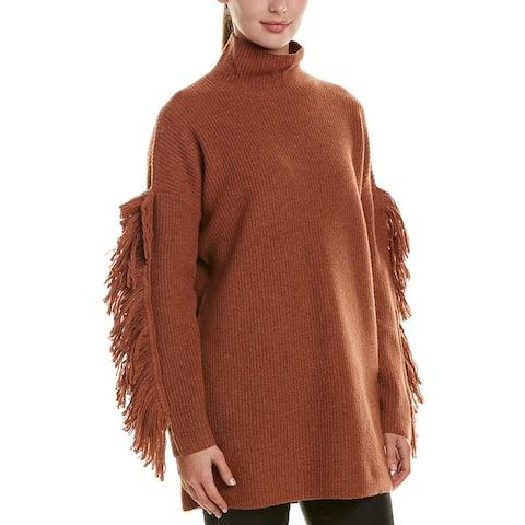 Bcbgmaxazria Fringe-Sleeve Wool-Blend Tunic
