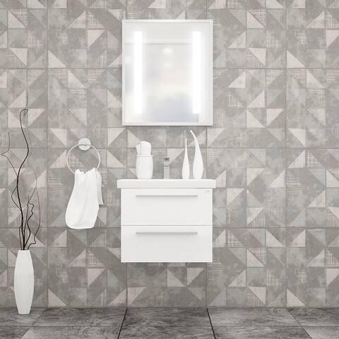 """Elke 24"""" Bathroom Vanity and Ceramic Sink with LED Mirror"""